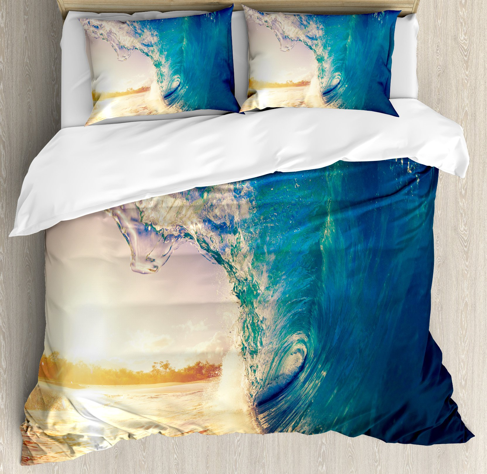 Ambesonne Ocean Duvet Cover Set King Size, Ocean Wave at Sunrise Reflection on Surface Tropical Trees Shoreline Summer Picture, Decorative 3 Piece Bedding Set with 2 Pillow Shams, Teal Yellow