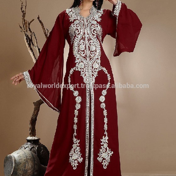 7627daf6d97 Muslim bridal wear moroccan wedding kaftans Gorgeous Beaded work Chiffon Long  Sleeve Muslim Evening Dress Kaftan