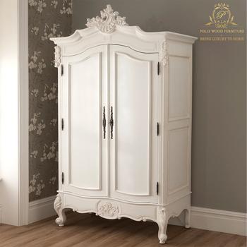 Royal European Designs White Wardrobe Home Set French Style Mahogany Wood Bedroom Furniture