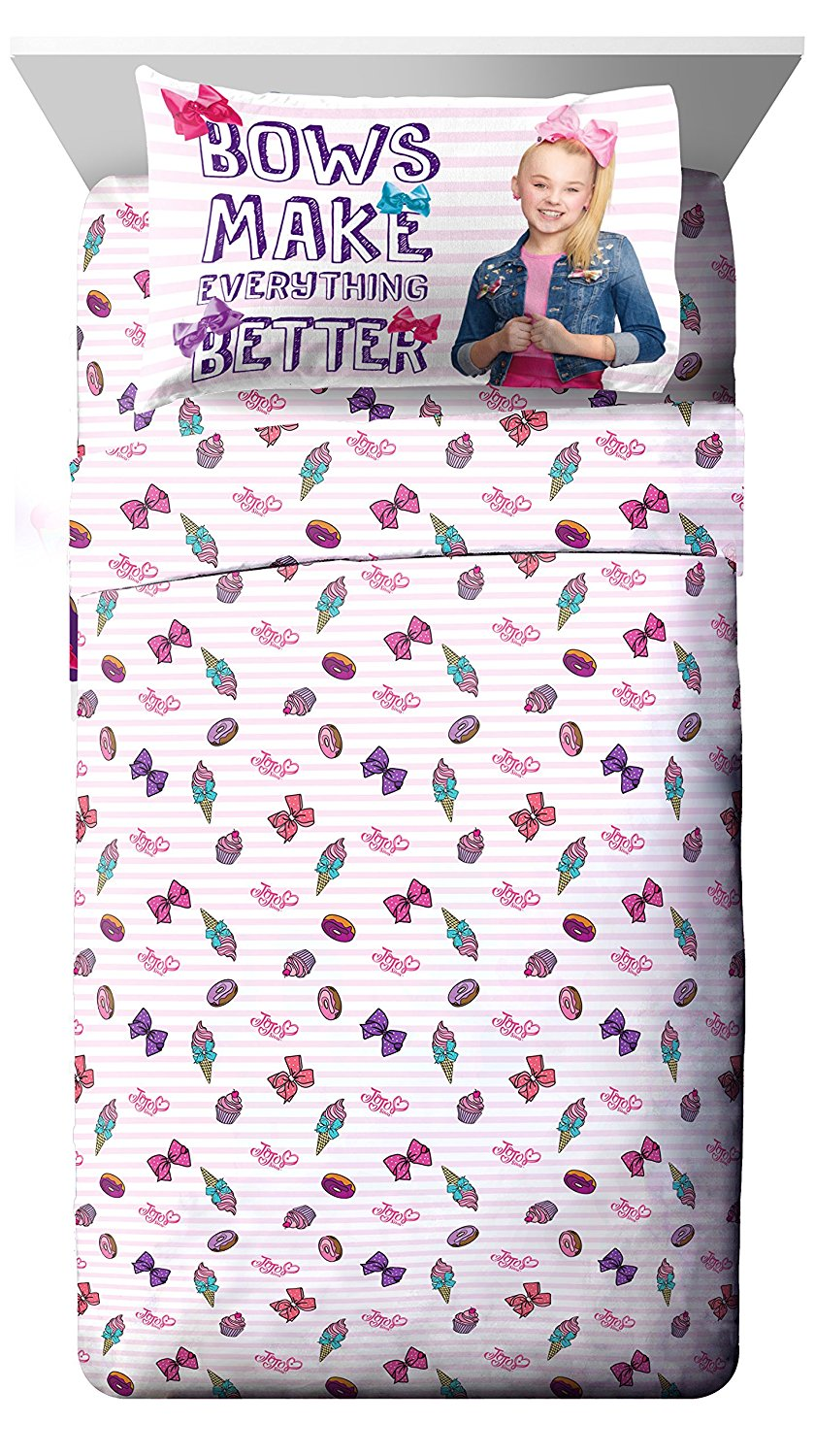 Nickelodeon JoJo Siwa Sweet Life Pink/White 4 Piece Full Sheet Set