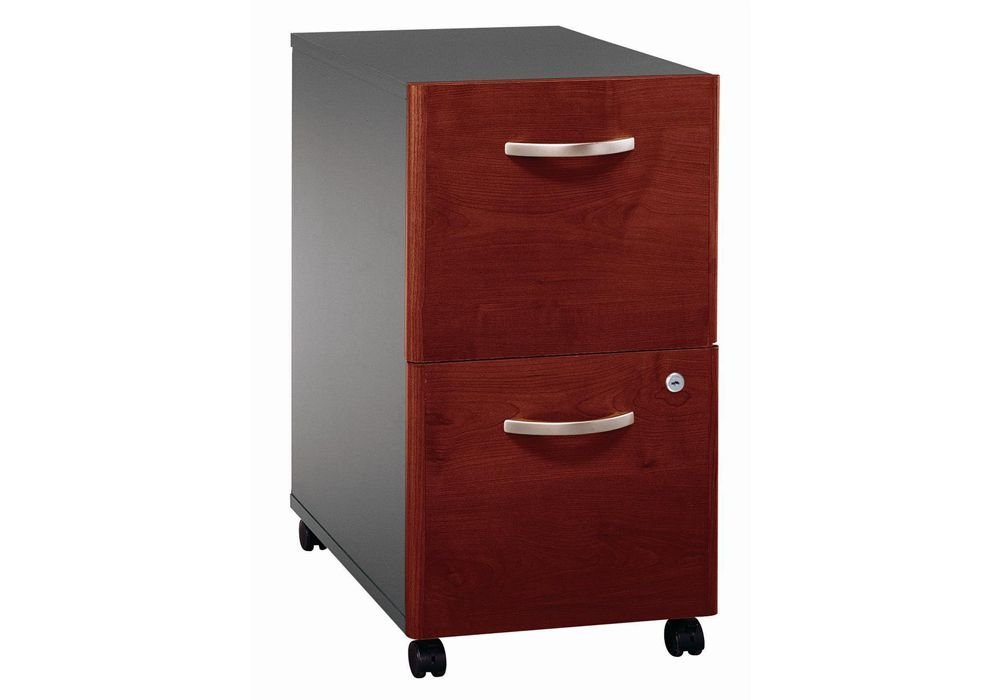 "2-Drawer Mobile File Pedestal Dimensions: 15.75""W x 20.25""D x 27.875""H Weight: 64 lbs Hansen Cherry/Graphite Gray"