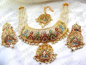 Traditional Jadau Heavy Wedding Wear Pearl Beaded Navratan Stone