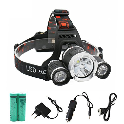 Best and Brightest Led Headlamp 6000 Lumens Led Rechargeable Headlamp Flashlight, 3 Lights 4 Modes Super Bright Tactical LED Headlamp Hands-free for Running Camping Fishing Cycling Hunting Climbing