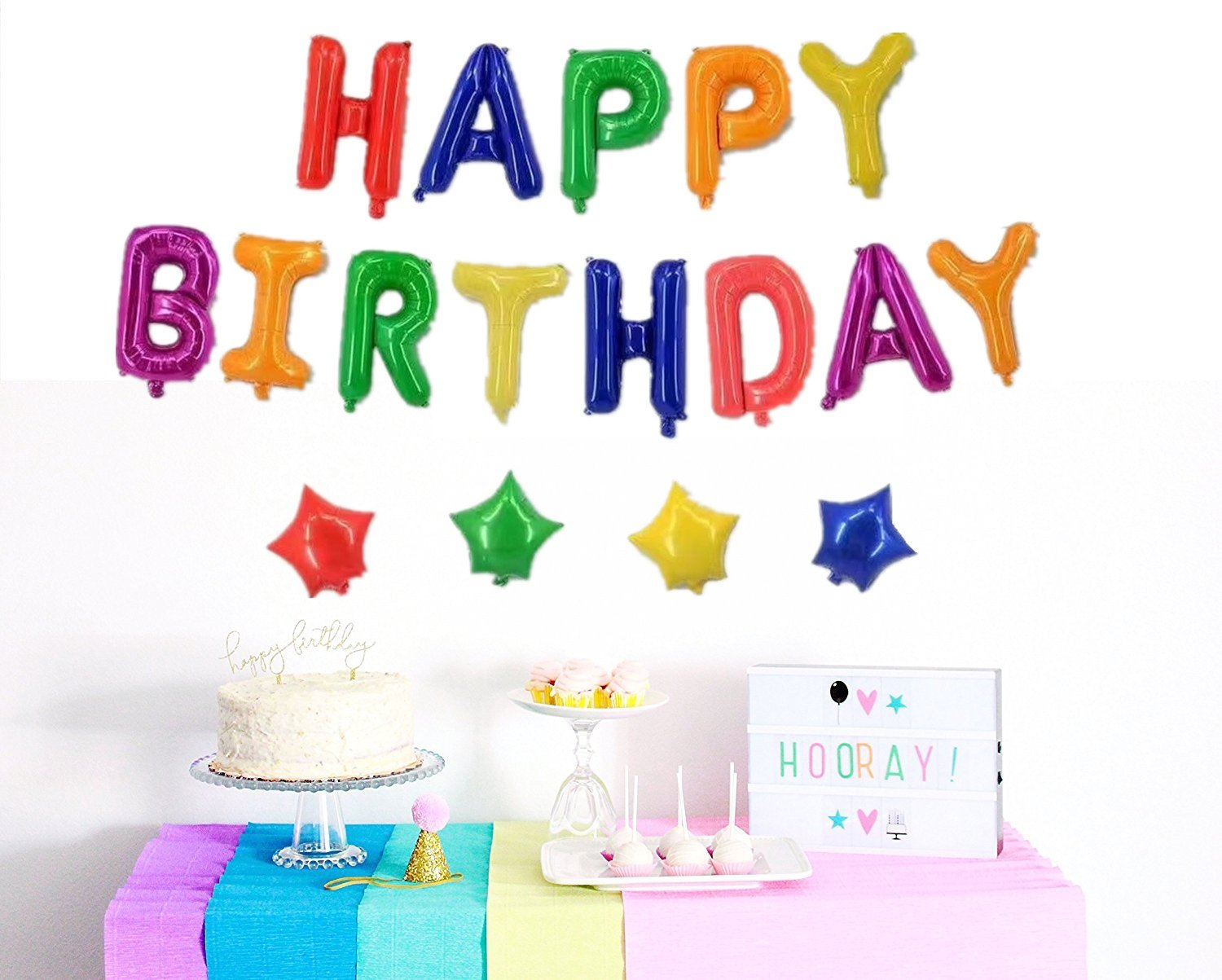 Cheap happy birthday flowers and balloons find happy birthday get quotations happy birthday balloons birthday decorations vagski 16 inches rainbow happy birthday banner for kid birthday izmirmasajfo