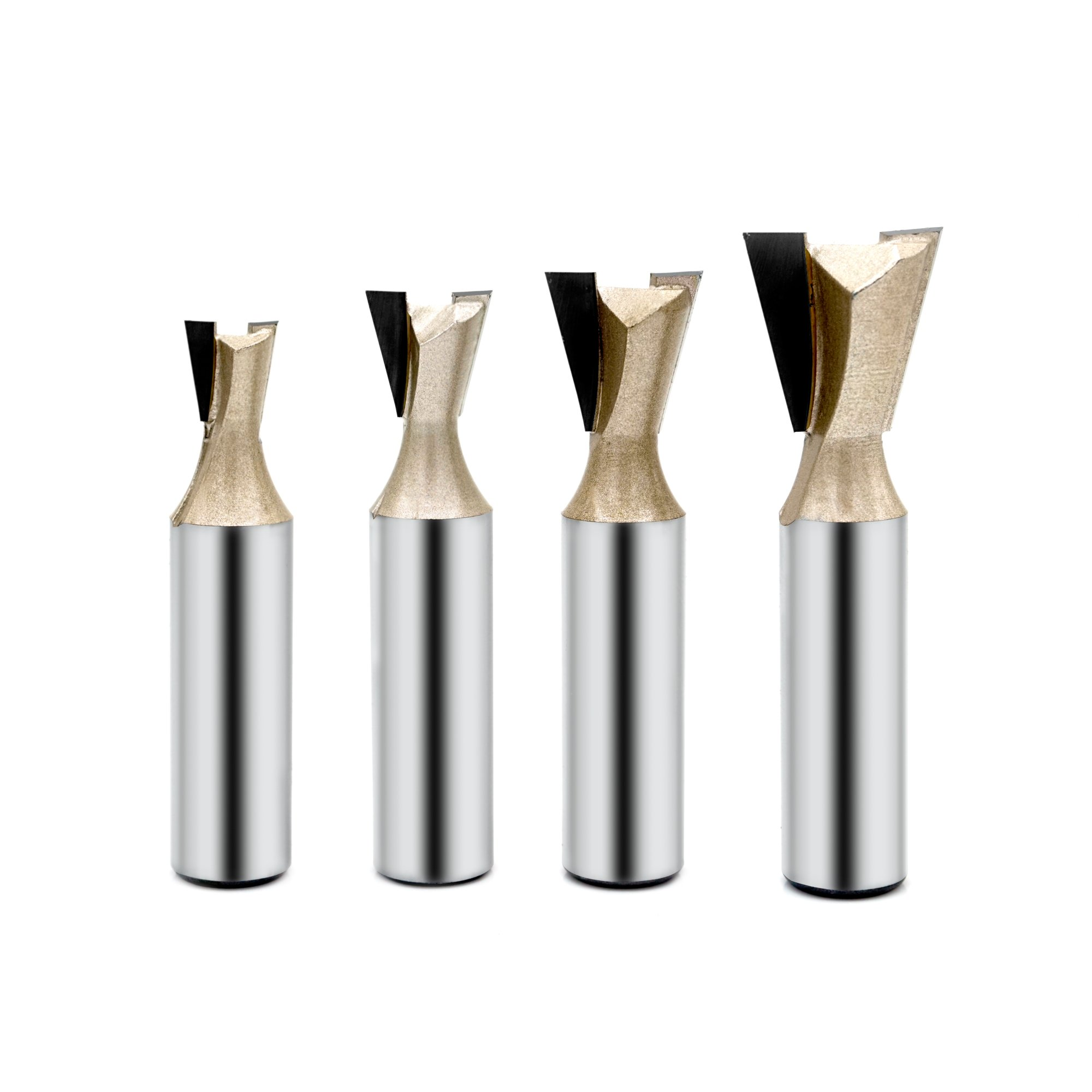 "4pcs Dovetail Router Bit, Gazeto Carbide Tip 3/8"" 1/2"" 5/8"" 3/4"" Rounter Bit, 1/2-Inch Shank"