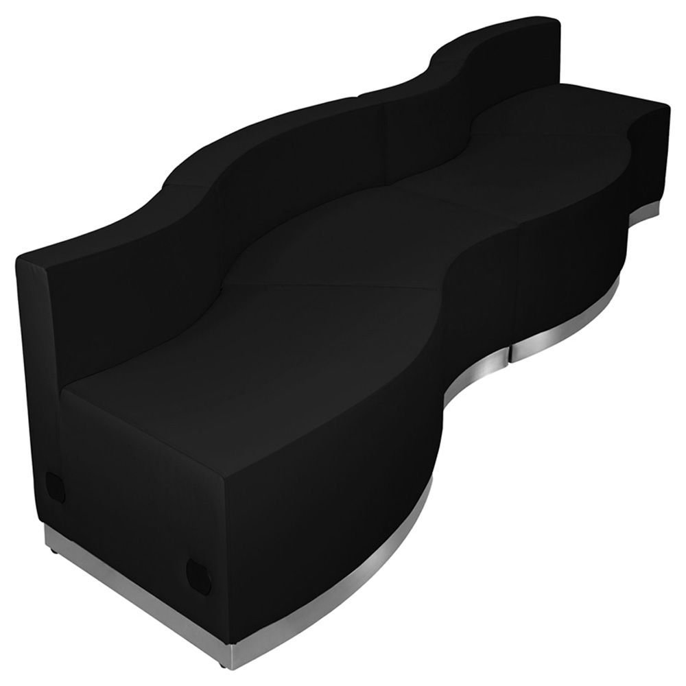 "Alon Series Wavy Reception Seating in Bonded Leather - Four Piece Set Dimensions: 131.50""W x 31.50""D x 27""H Weight: 186 lbs Black Bonded Leather/Brushed Stainless Steel Base"