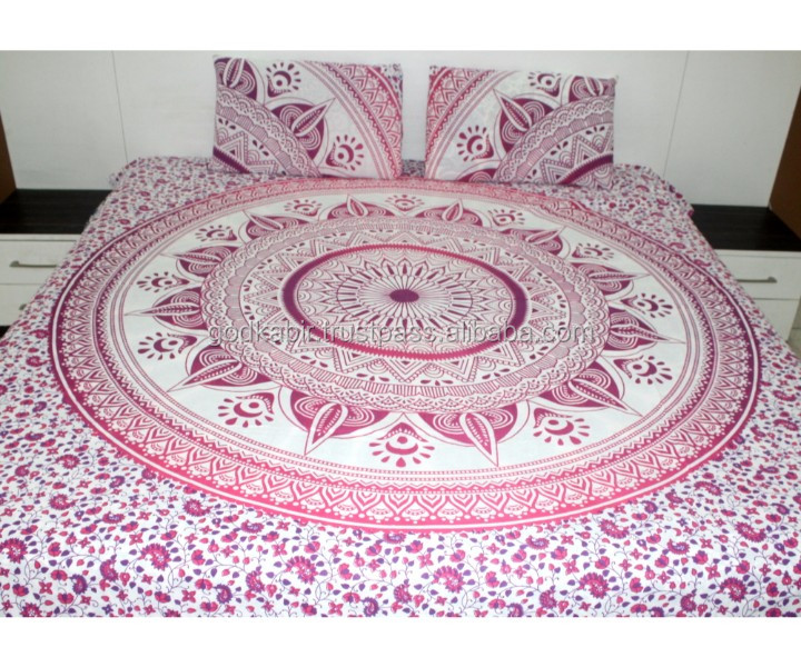 Indian wholesale Mandala Block Printed 100% Cotton Round Mandala Bedsheets with Pillow Covers