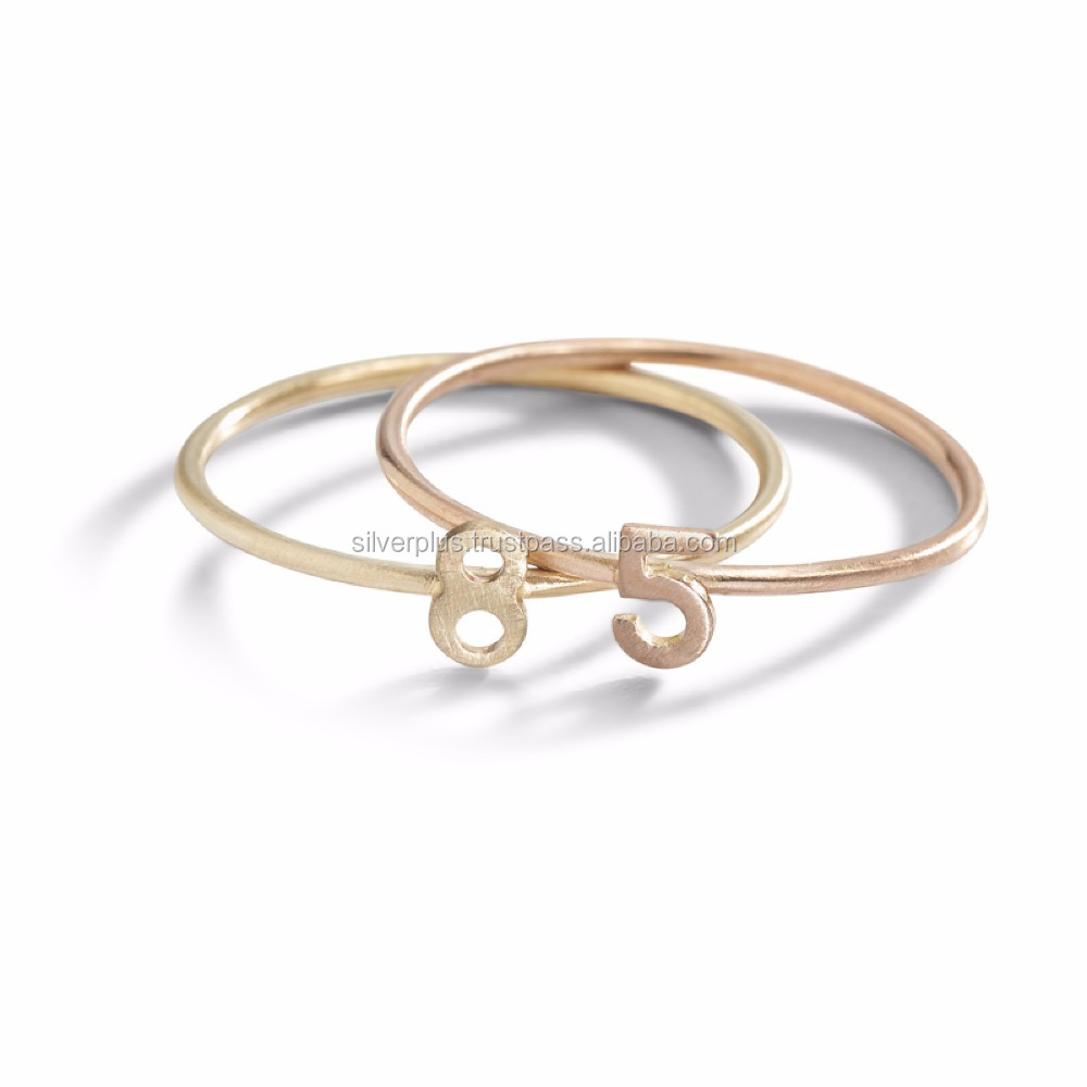 14k Yellow Gold 8 Letter Initial Rings personalize Jewelry