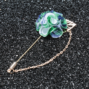Mens Fashion Accessories of Fancy Fabric Flower Brooch Lapel Pin With Chain For Wedding Party
