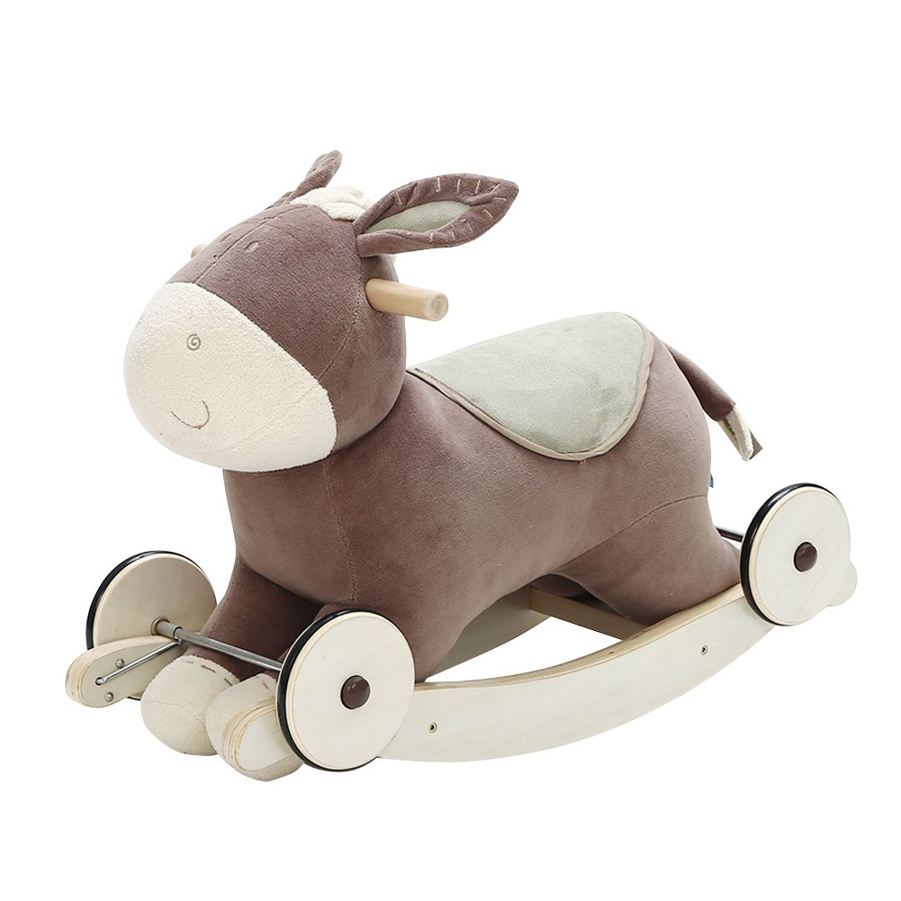 Labebe Modern Plush Rocking Horse for Little Toddlers Kids Baby Boys & Girls (Up 6 Months Old), Indoor Rocking Animal/Ride-On Toys/Rockers with Wheels and Sound Paper- Cute Stuffed Donkey