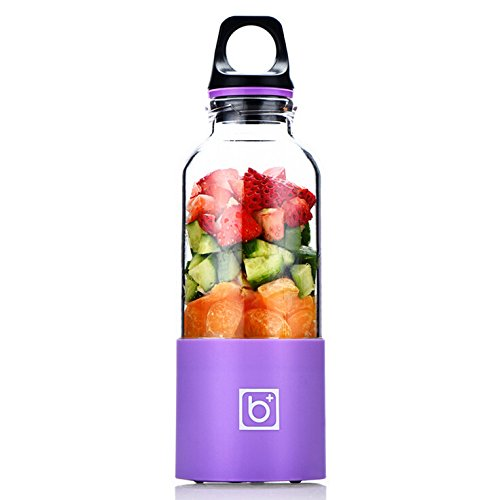 Portable Juice Blender, Fruit Mixing Machine, Personal Size, Electric Rechargeable Mixer, Blender, Water Bottle 500ml with USB Charger Cable, Portable Juice cup, & Handheld Protein Mixer, Multi Color