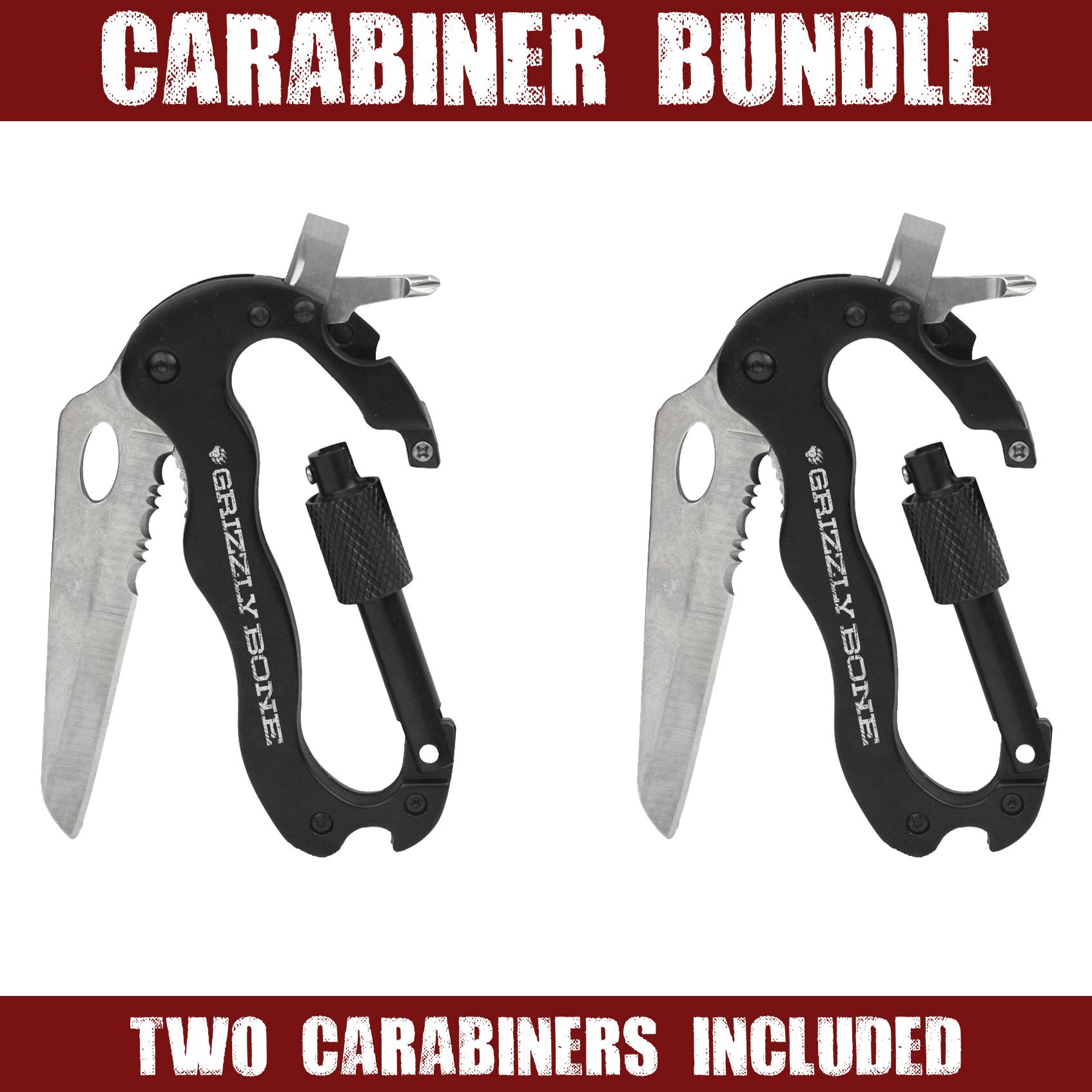 2 Pack - 5-in-1 Multitool Carabiners Knife with Bottle Opener, Screwdrivers and locking carabiner perfect for Zombie Survival Kit