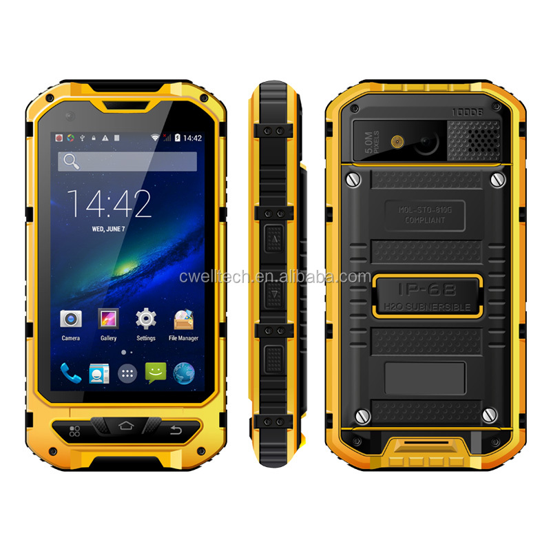 4 inch IPS capacitive touch screen MTK6582 Quad core IP68 Waterproof ALPS A8+ NFC smartphone