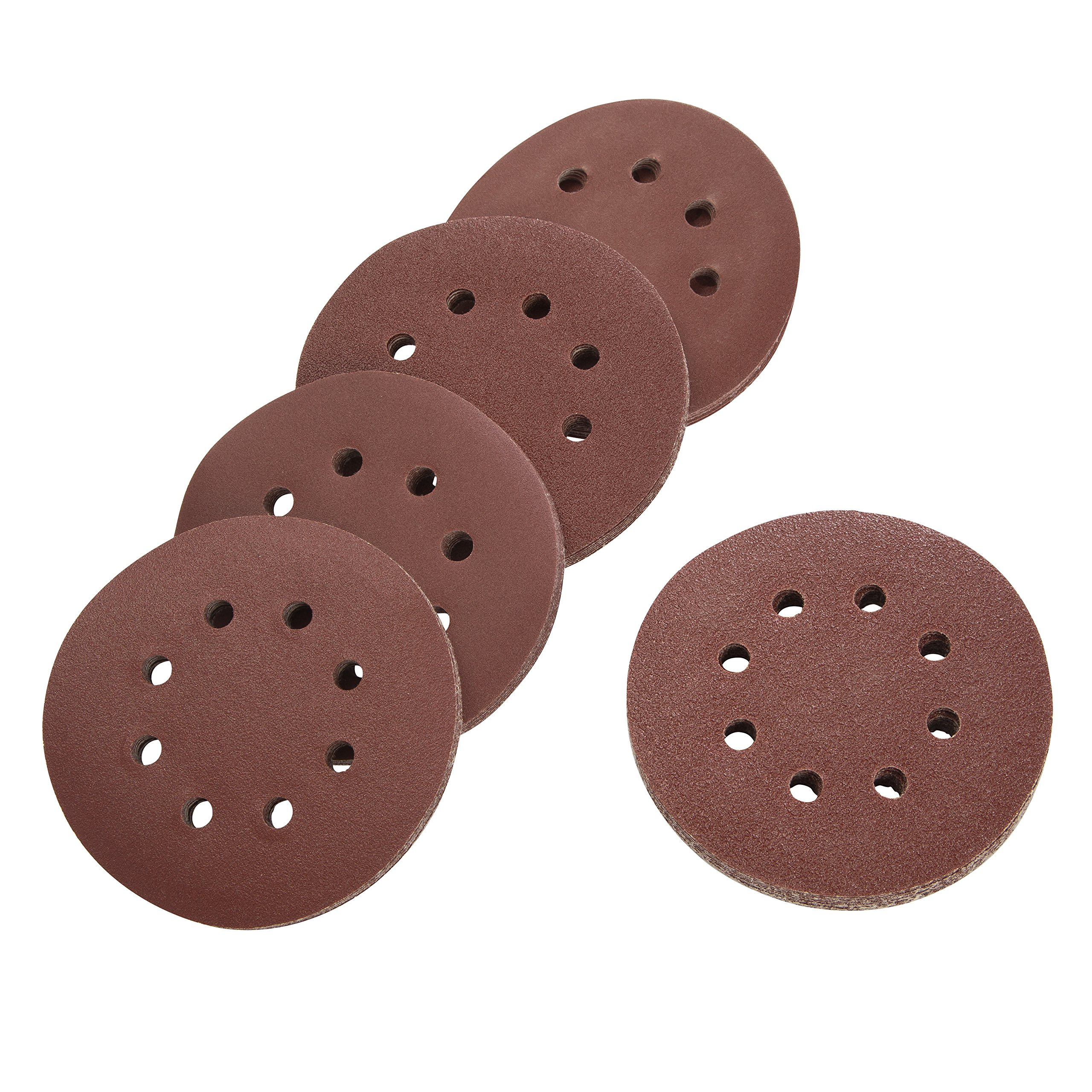 100 Pack Assorted Sanding Discs, 5 Inch Hook and Loop Round Sandpaper Discs, Dustless 8 Hole Sand Paper, Assorted Pack Includes 20 Discs Each of 60 Grit, 80 Grit, 120 Grit, 180 Grit, and 220 Grit