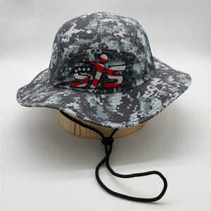 Custom Quick Dry Digital Camo Army Print Fishing Cap Boonie Bucket Hat With String