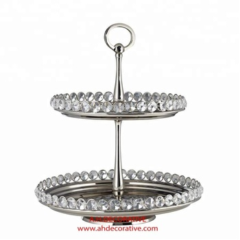 Crystal 2 Tier Round Cake Stand - Buy Silver Wedding Cake Stands ...