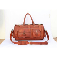 high quality genuine goat leather duffle bag men leather travel