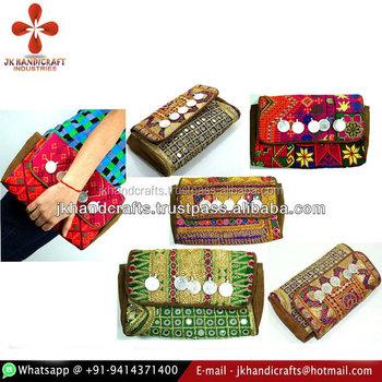 9cf686db8dc Wholesale Designer Leather Clutch Bags Ethnic Vintage Fabric Purse ...