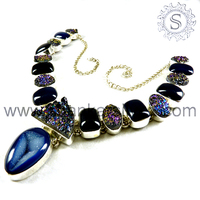 Best promotion new designed durzy necklace 925 sterling silver jewelry wholesale indian silver jewelry