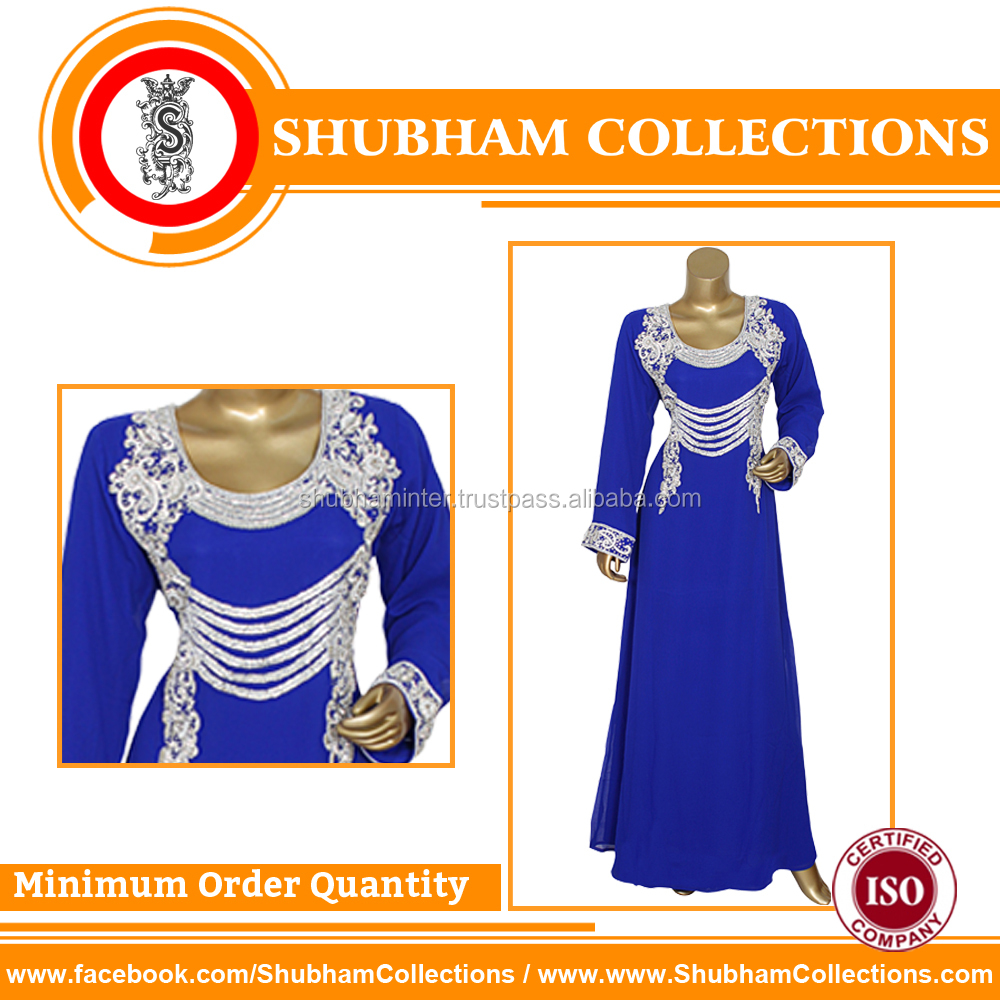 Royal Blue Heavy Beaded Full Sleeves Kaftan Caftan For Women