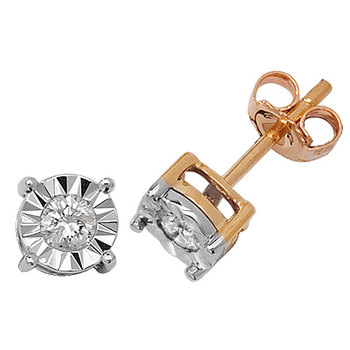 0.10TCW Real Round Solitaire Diamond illusion setting earrings 14K Yellow Gold