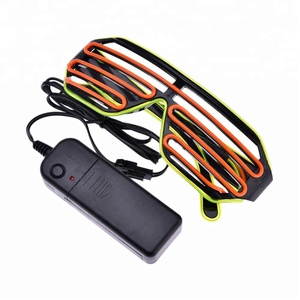 Multi Colors EL Glowing Glasses Fashion Neon LED Light Up Shutter Shaped Glow Glasses For Dance DJ Party Mask Glasses
