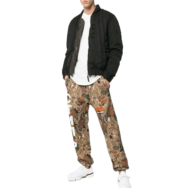 OEM custom mens logo printed camouflage cotton sweat pants new fashion military trousers for men
