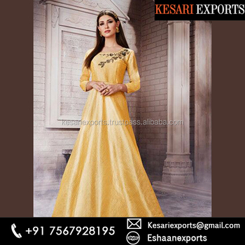 Yellow Silk Party Wear Zardosi Work Gown - Buy Latest Party Gowns ...