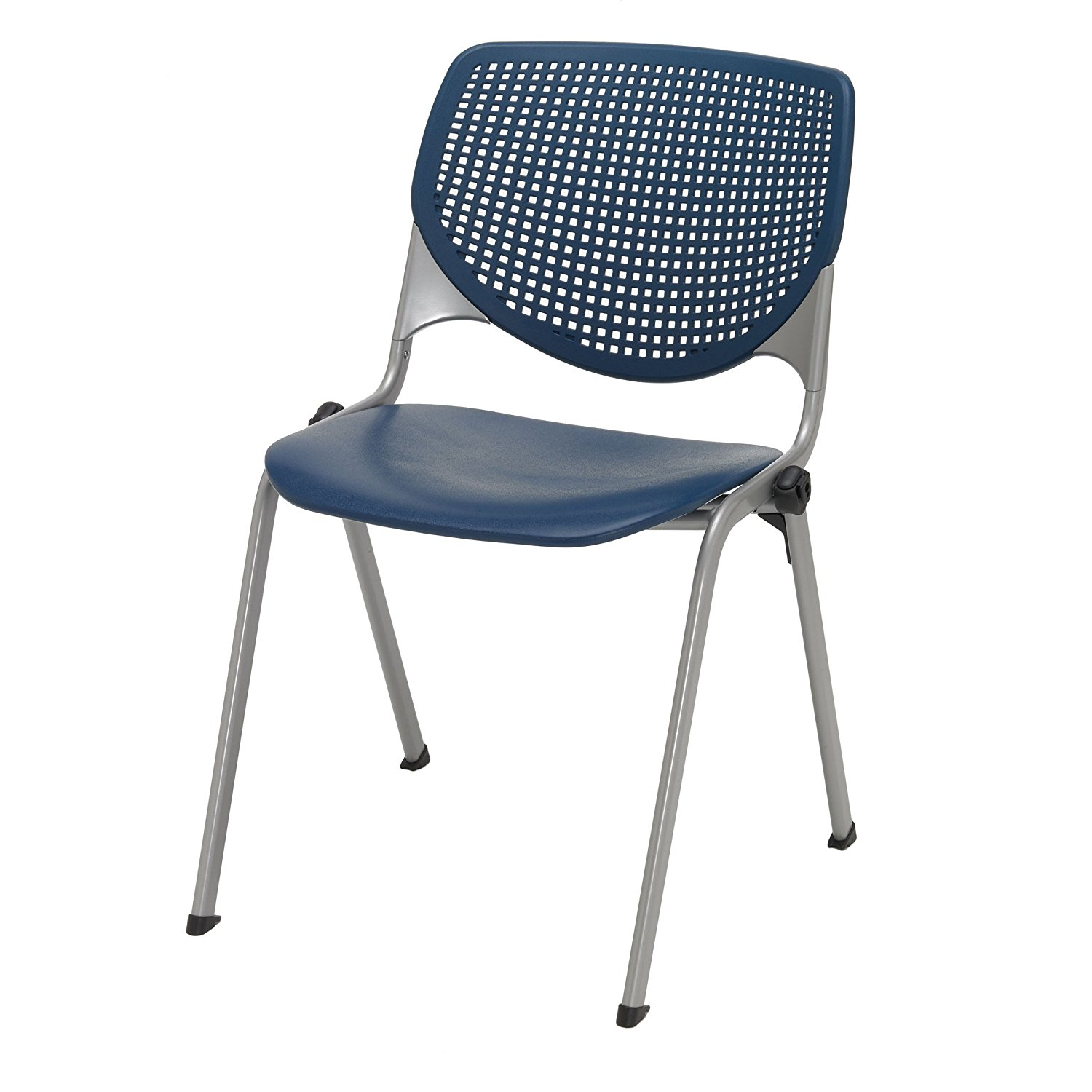 KFI Seating KOOL Series Polypropylene Stack Chair with Perforated Back, Navy Finish