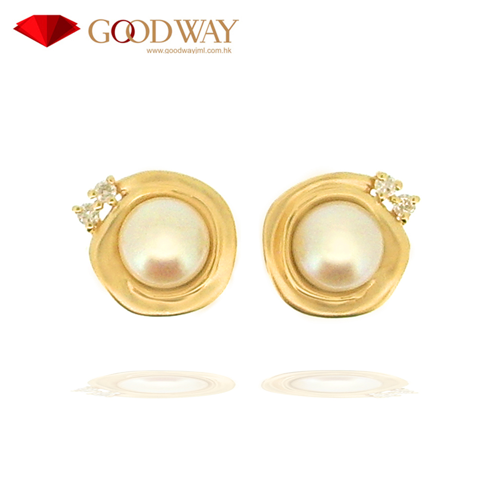 1e051e2777de2 Cute Simple White Fresh Water Pearl With Diamond 14k 585 Yellow Gold  Earring Jewelry For Women - Buy 18k Pearl Earring,14k Cultured Pearl ...
