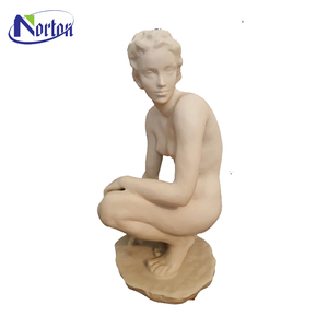 Hand Carved White Marble sitting Nude Woman Statue NT-00238RI