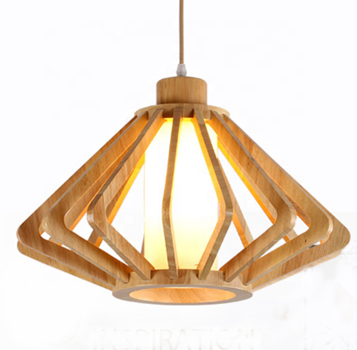 New nordic natural wood bedroom <strong>modern</strong> led hanging light dining room cage edison decorative chandelier ceiling pendant lamp
