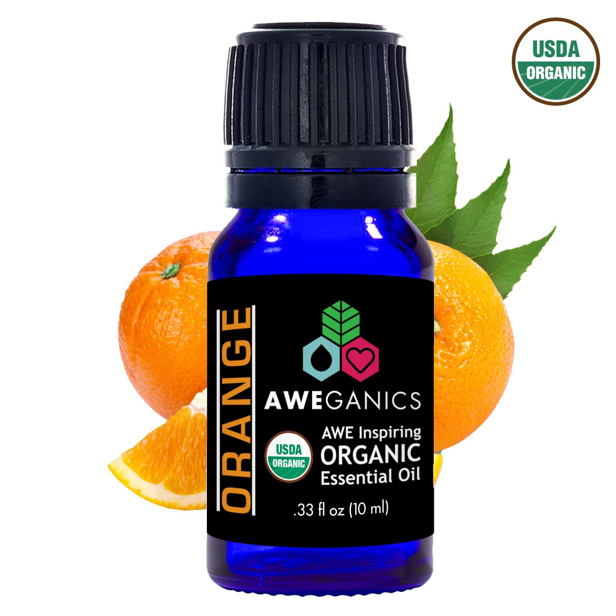 Aweganics Pure Orange Oil USDA Organic Essential Oils, 100% Pure Natural Premium Therapeutic Grade, Best Aromatherapy Scented-Oils for Diffuser, Home, Office, Women, Men - 10 ML - MSRP $14.99