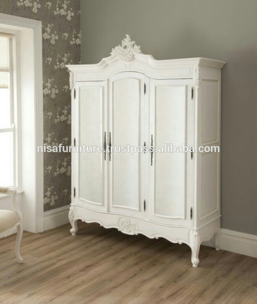 Antique Wooden Bedroom French Chateau White Painted 2 Door Double Armoire  Wardrobe - Buy Armoire Wardrobe,Wardrobe,Antique Wardrobe Product on ...