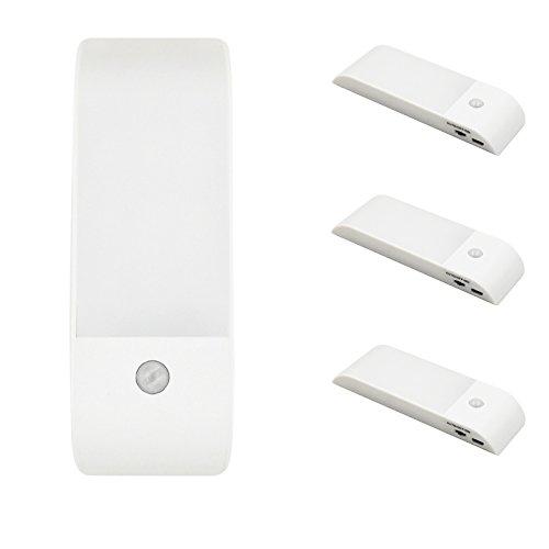 Bonlux Wireless LED Motion Sensing Rechargeable Night Light, Stick Anywhere LED PIR Motion Sensor Wall Light for Closet Cabinet Attic Stairway Hallway Wardrobe Nursery Lighting (Warm White, 3-Pack)
