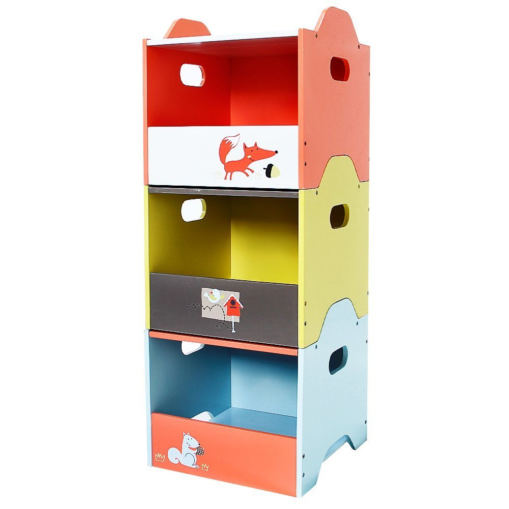labebe Wooden Toy Storage Bin, 3-Color Combined Stackable Fox Toy Bin, Open Door Baby Toy Chest with 3 Layers for Baby, Toy Storage Box/Kid Toy Box Set/Colorful Storage Bin/Boy&Girl Storage Toy