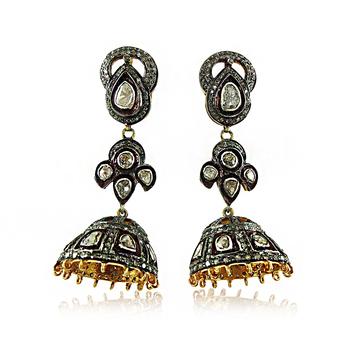 9a560cf6c6a38 925 Silver Rose Cut Polki Diamond Jhumka Earrings - Buy Rose Cut Gold  Plated Silver Earrings Jewelry,Pave Setting Polki Diamond Silver  Earrings,14k ...