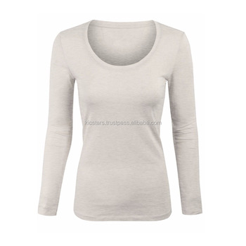 2018 New Long Sleeve Tee Round Neck Plain Cotton Women T Shirt - Buy ... c5b300a87af