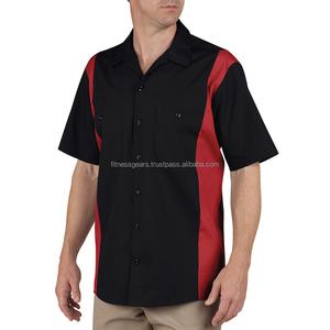 Short Sleeve Industrial Color Block Shirt Automotive Mechanic T Shirts