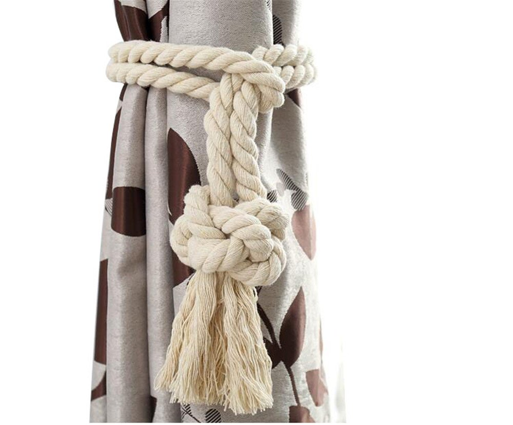 2 pieces of cotton thread cotton cord curtains tie curtains deduction curtains tied rope rope hanging hook Curtain Tiebacks / Tassel Window Cotton Rope Tie Ball Back Accessories (Tie, Beige)