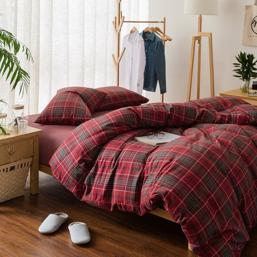 HIGHBUY Luxury Plaid Pattern Flannel Bedding Duvet Cover Set King Soft Cotton Red Grid Printed Comforter Cover King for Boys Men Reversible Modern Checkered Bedding Sets, Lightweight Soft