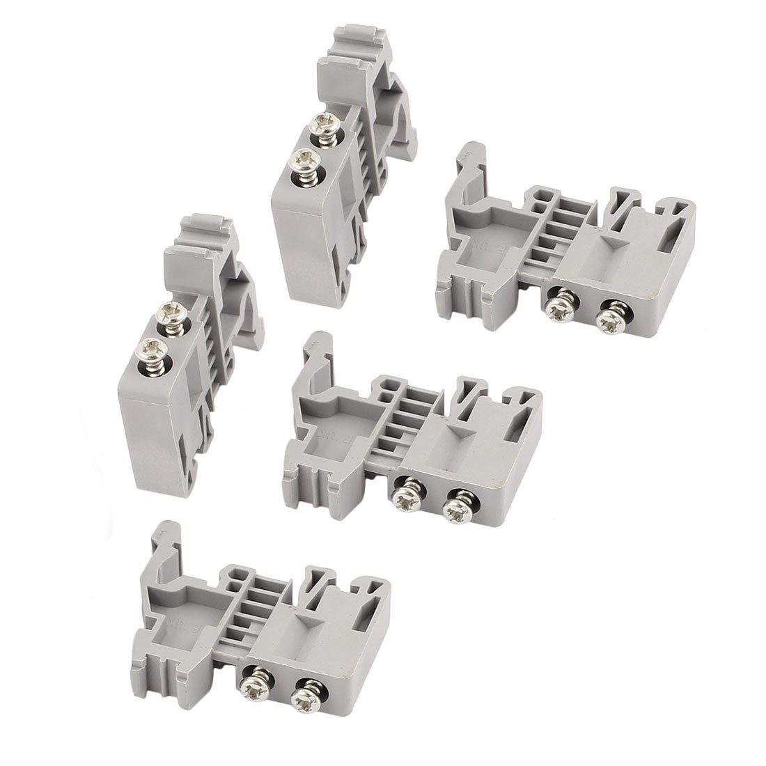 uxcell 5 Pcs E-UK 35mm DIN Rail End Screw Clamp Terminal Fixed Block Gray