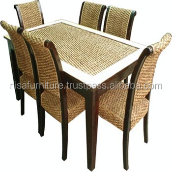 Mahogany Water Hyacinth Rattan Wicker Dining Chairs And Table Set Indonesia Furniture