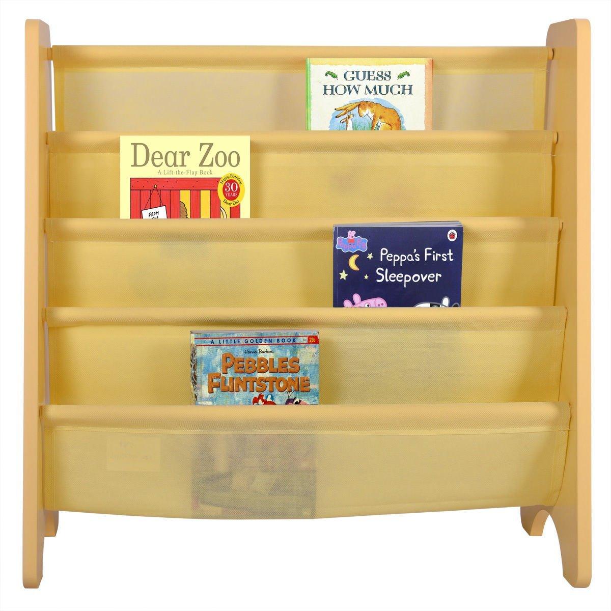Get Quotations Kids Book Shelf Sling Storage Rack Organizer Bookcase Display Holder Natural