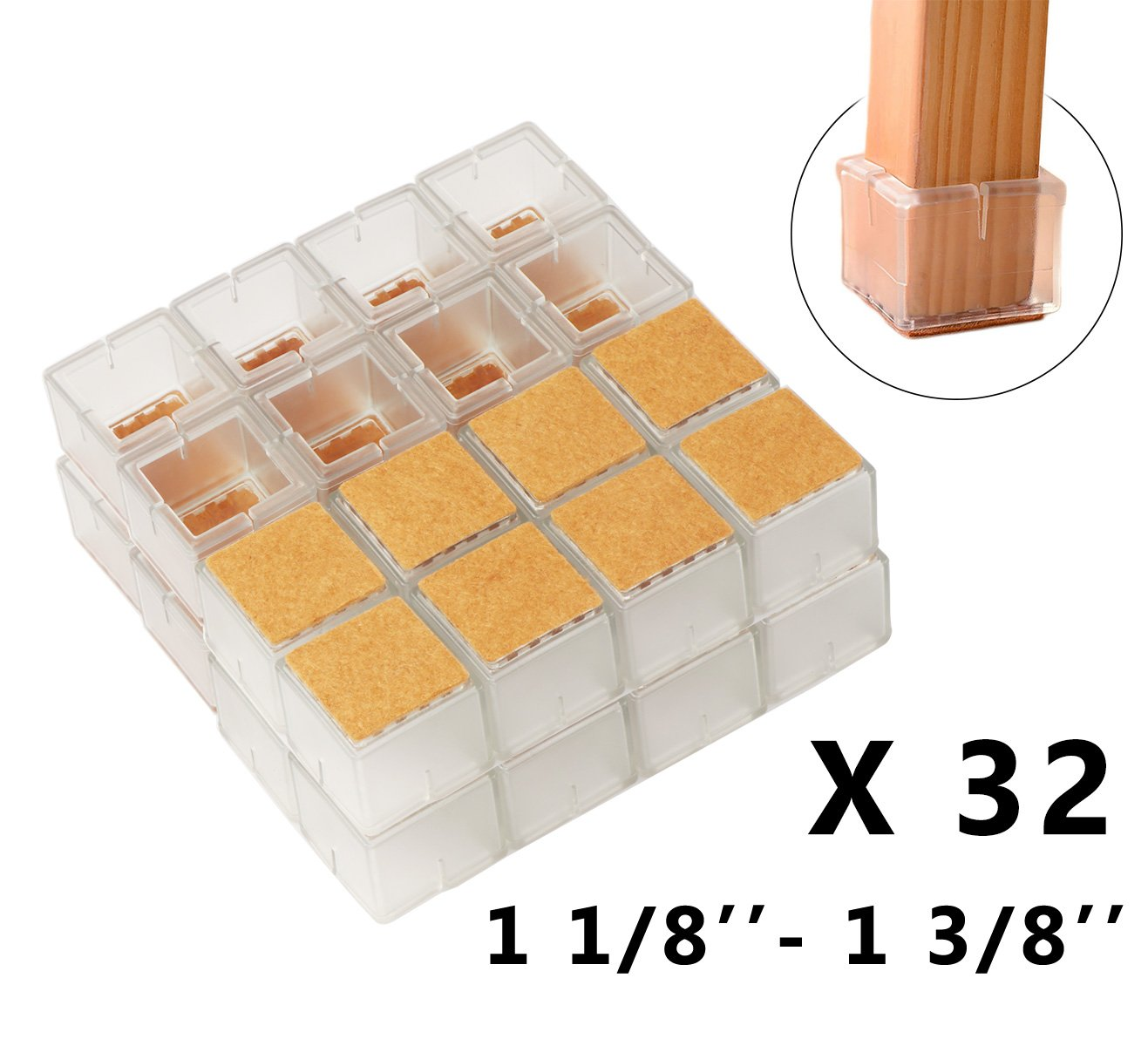 52bf4a20568 Get Quotations · Chair Leg Hardwood Floor Protectors with Felt Mat Furniture  Table Leg Glides Feet Caps Fit Square