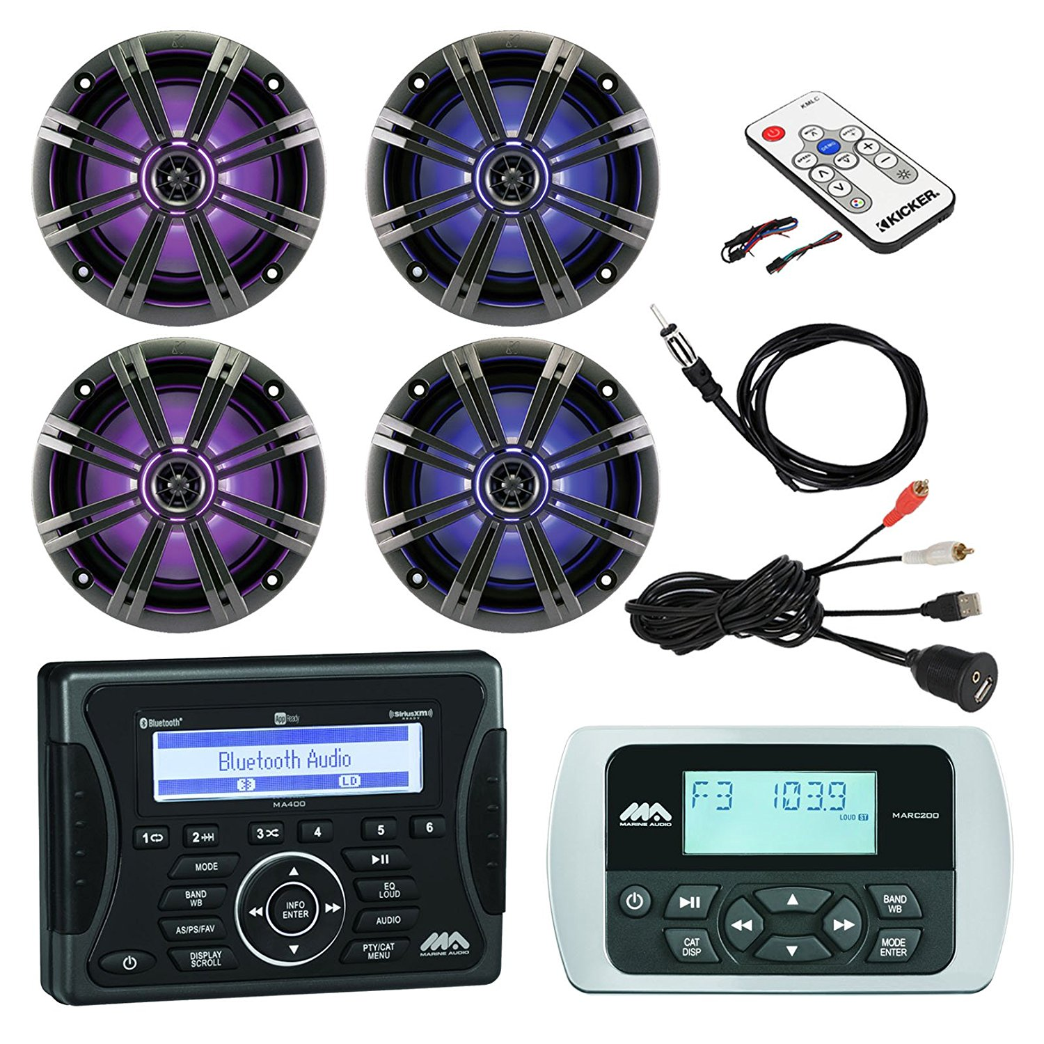 """Jensen Marine Audio Bluetooth AUX USB SiriusXM-Ready Receiver, Wired Remote, 4x 8"""" Marine LED Coaxial Speakers w/ Grilles, Braided Cable Antenna, Kicker LED Light Remote Controller, USB Mount"""