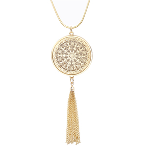 Gold Plated Disk Circle Necklaces Tassel Fringe Long Round Pendant Necklace for Women Girls