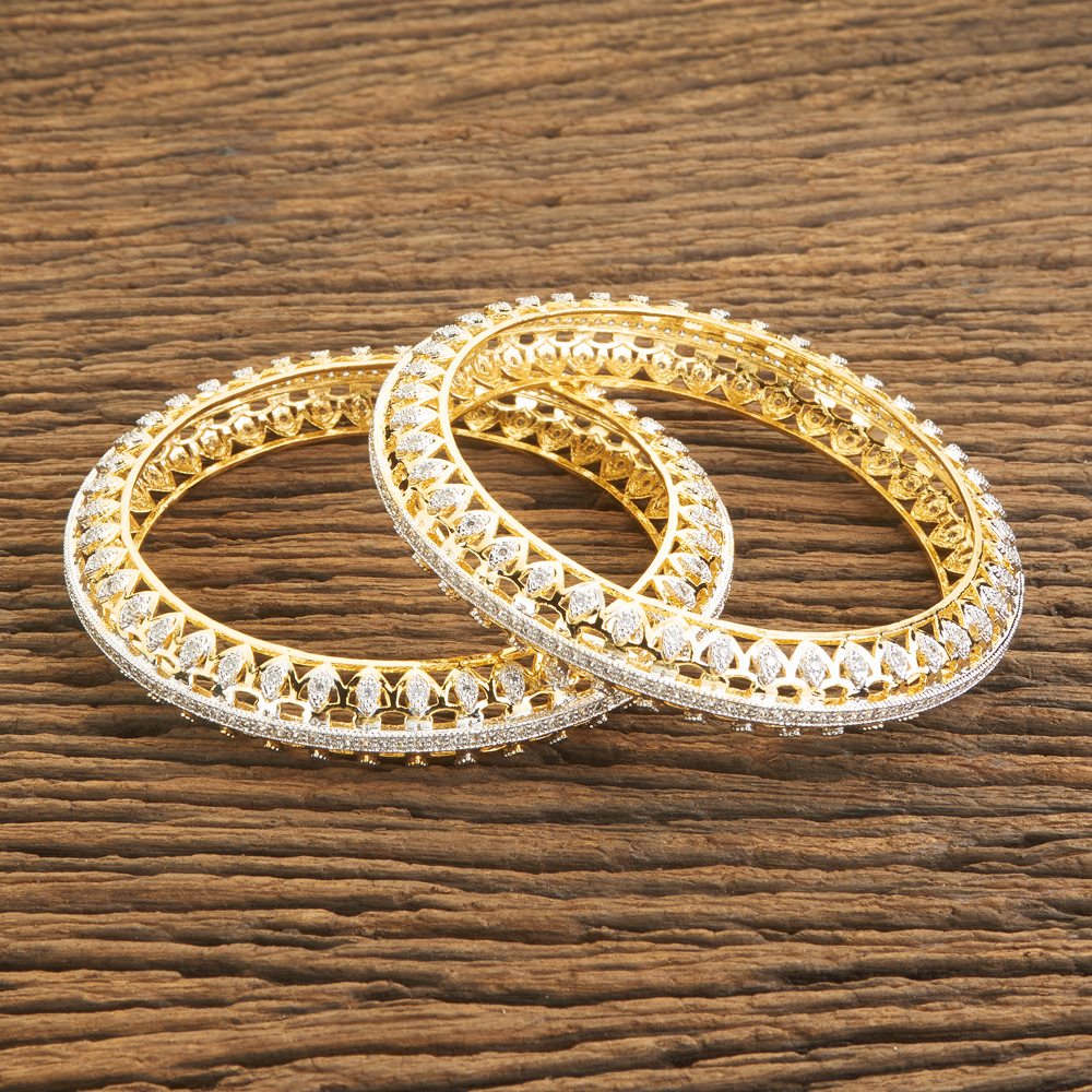 Cz imitation Bangles With 2 Tone Plated 60040 White