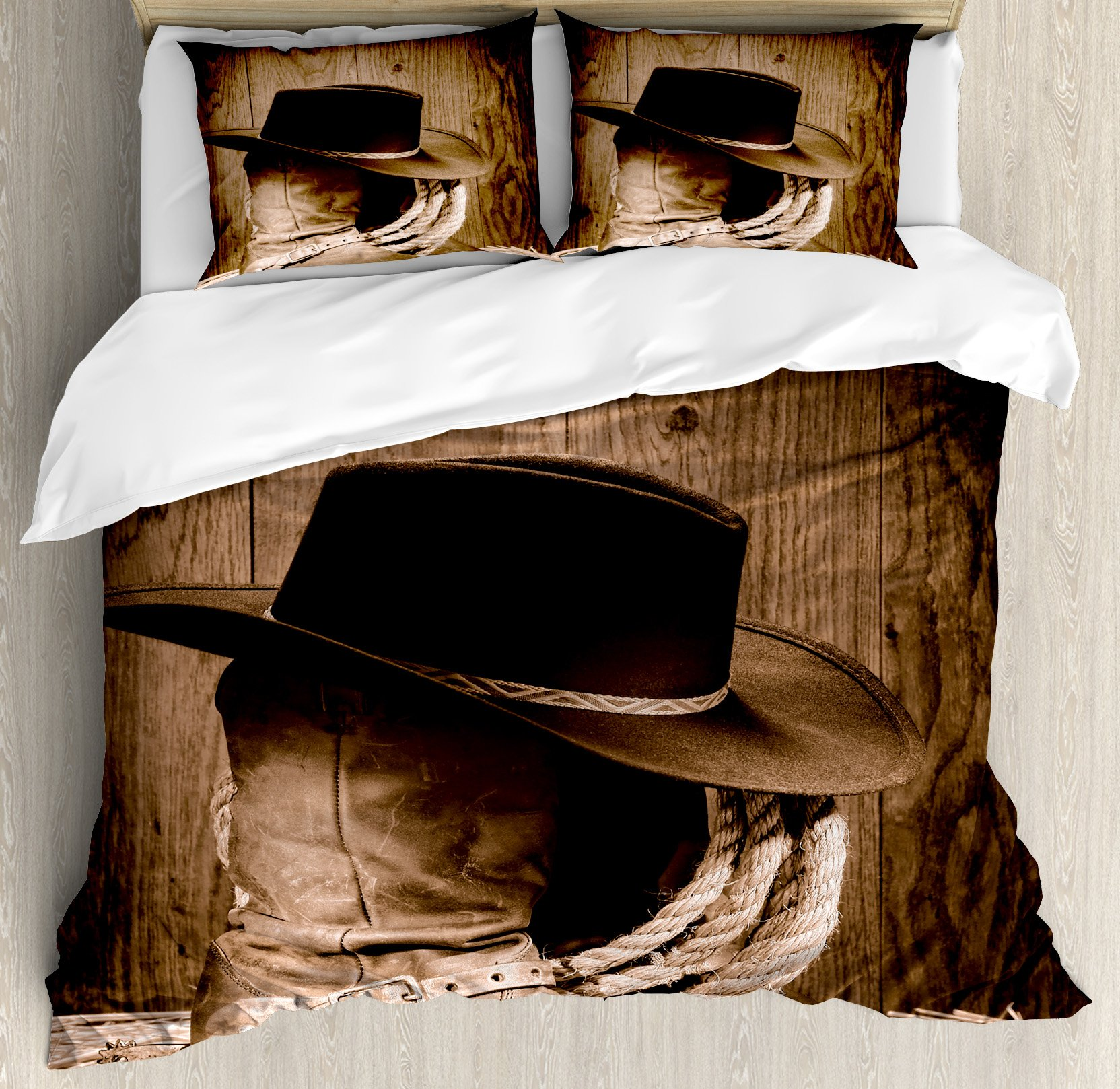 Western Duvet Cover Set King Size by Ambesonne, Wild West Themed Cowboy Hat and Old Ranching Rope On Wooden Display Rodeo Cowboy Style, Decorative 3 Piece Bedding Set with 2 Pillow Shams, Brown