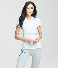 Ladies Women POLO T shirts Top White Black Stripe Customize Embroidery High Quality 100% Cotton Polyester OEM Wholesale 2018